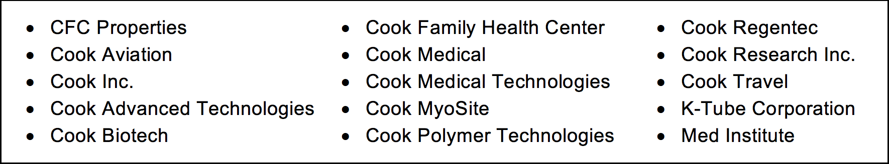 Cook Group companies bullet list